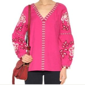 Tory Burch Therese Hibiscus-Embroidered Pink Tunic